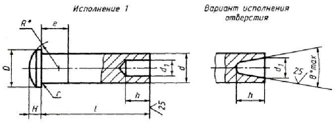 Заклепка ГОСТ 12641-80 полупустотелая с полукруглой головкой